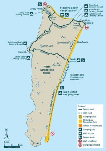Stradbroke Island Map National Parks & Recreation Areas | Minjerribah Camping